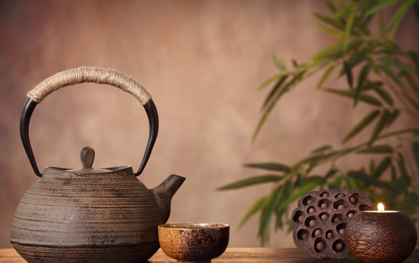 Фото обои чайник, лотос, чашка, блюдце, листики