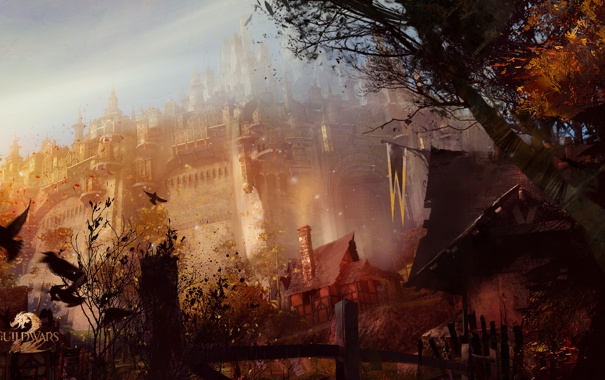 Фото обои королевство, guildwars, город, крепость, птицы