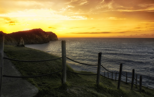 Фото обои море, пляж, закат