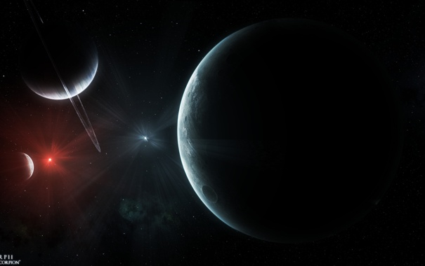 Фото обои кратер, звезды, свет, планеты, кольца