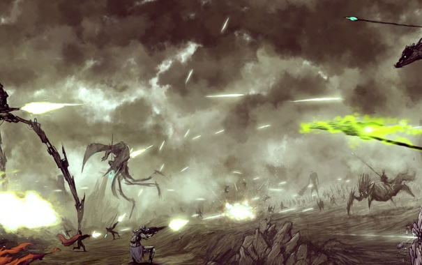 Фото обои оружие, война, дракон, роботы, солдаты, холодное