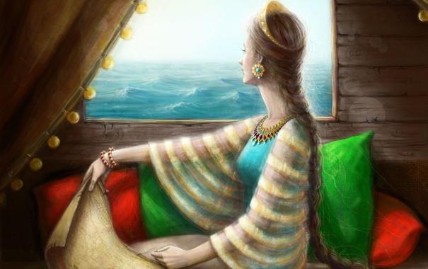Фото обои море, девушка, украшения, комната, карта, подушки, окно