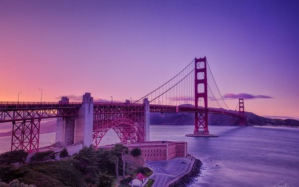 Фото обои мост, Калифорния, Сан-Франциско, Золотые Ворота, USA, США, Golden Gate Bridge