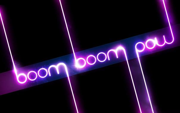 Фото обои pow, неон, свет, boom