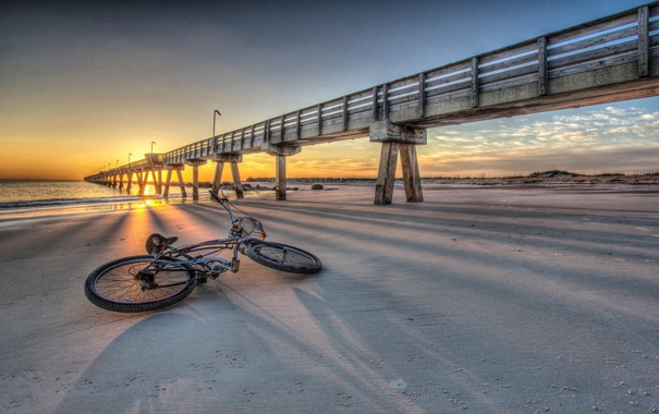 Фото обои закат, мост, велосипед