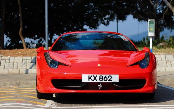 Фото обои Ferrari, суперкар, red, феррари, 458, передок, Hong Kong