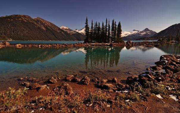 Фото обои деревья, горы, озеро