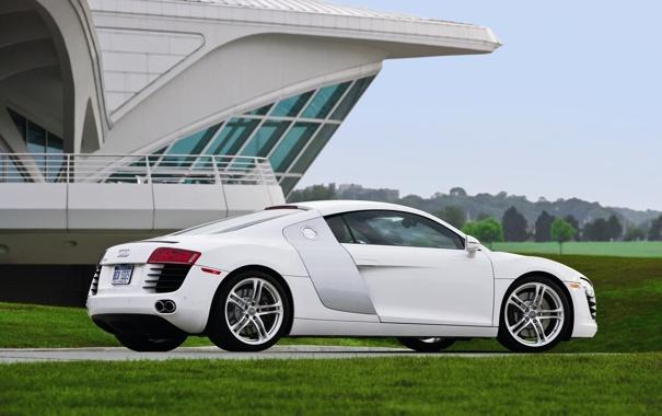Фото обои белый, трава, Audi, тачки, белая, auto wallpapers, авто обои