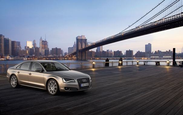 Фото обои машины, мост, город, Audi