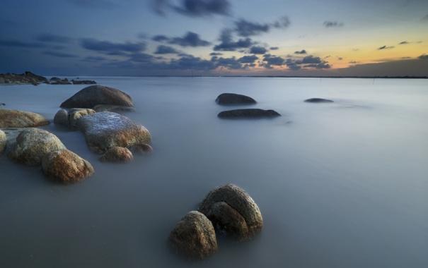 Фото обои море, закат, камни, залив