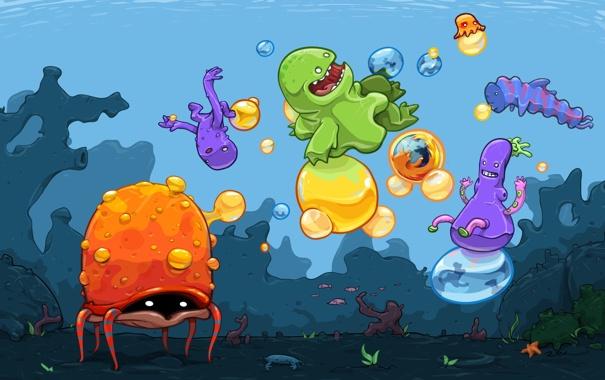 Фото обои рыбы, осьминог, мозила, мультипликация