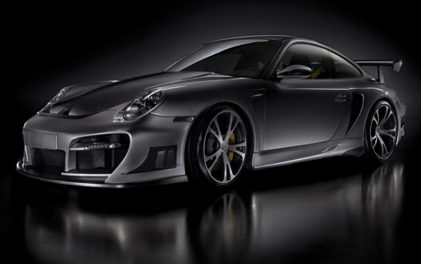 Фото обои серый, фон, Porsche, спойлер, диски, super