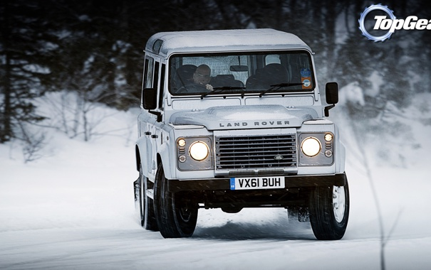 Фото обои Top Gear, дрифт, Land Rover, самая лучшая телепередача, высшая передача, топ гир, Defender