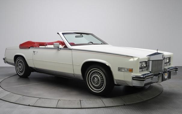 Фото обои белый, фон, Eldorado, Cadillac, Эльдорадо, кабриолет, передок