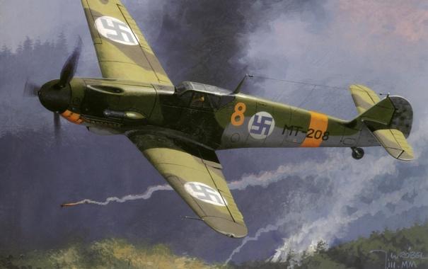 Фото обои небо, рисунок, истребитель, арт, WW2, Me-109, ВВС Финляндии
