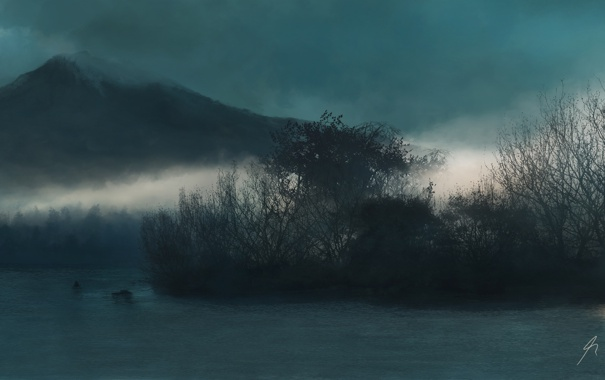 Фото обои деревья, природа, туман, озеро, гора, холм, арт