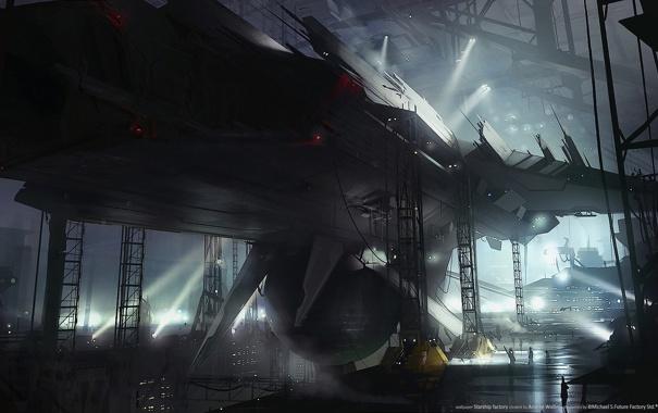 Фото обои огни, люди, фантастика, завод, корабль