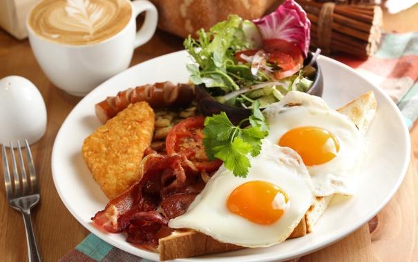 Фото обои кофе, завтрак, яичница, помидор, бекон, салат, тост