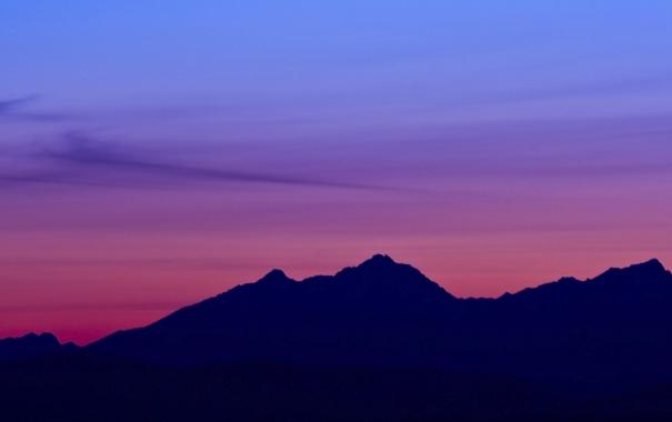 Фото обои закат, горы, силуэт
