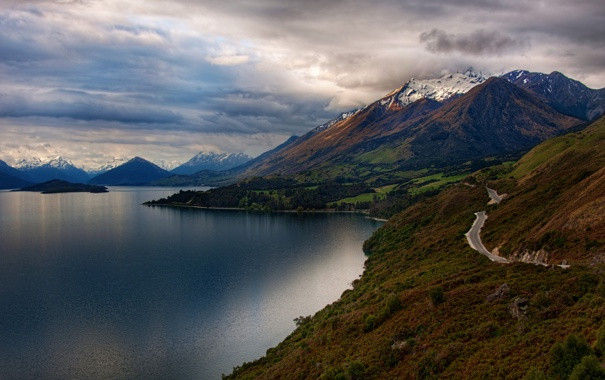 Фото обои дорога, вода, облака, горы, фотография, пейзажи, картинки
