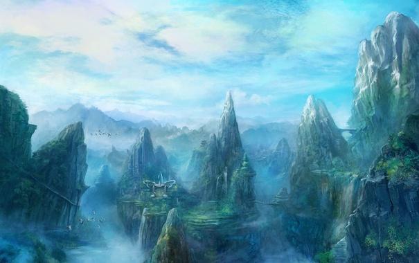 Фото обои пейзаж, горы, птицы, мост, туман, здания, водопад