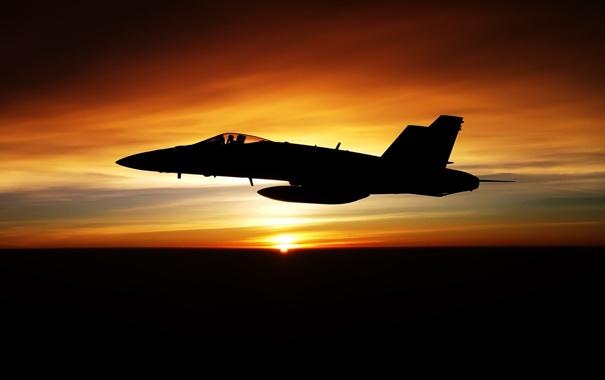 Фото обои закат, Авиация, FA-18F
