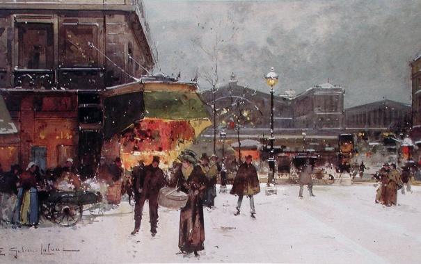 Фото обои зима, снег, Париж, EUGENE GALIEN-LALOUE