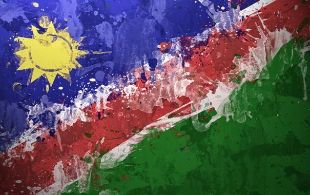 Фото обои краски, флаг, Намибия, flag, Республика Намибия, Republiek van Namibië, Republik Namibia