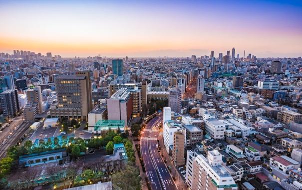 Фото обои город, дома, панорама, Tokyo, Skyline, Dusk