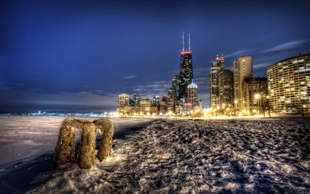 Фото обои ночь, город, chicago
