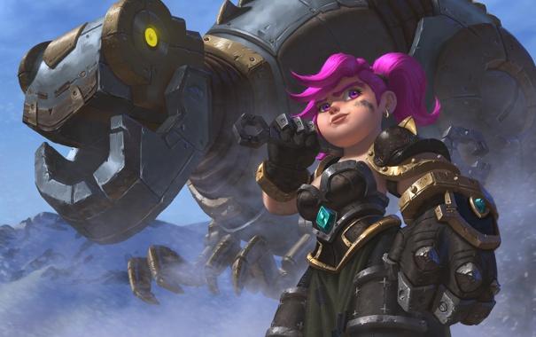 Фото обои девушка, механизм, робот, динозавр, арт, гном, Dinobot