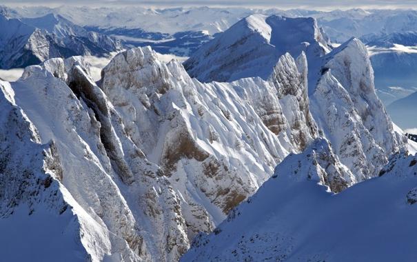 Фото обои зима, снег, горы, фото, пейзажи, вершины, зимние обои