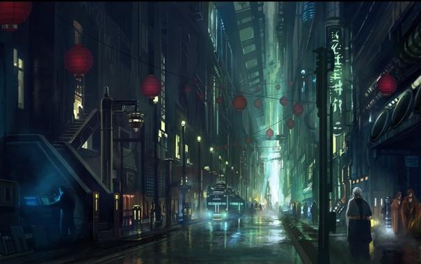 Фото обои ночь, город, будущее, люди, фантастика, арт, by andreasrocha