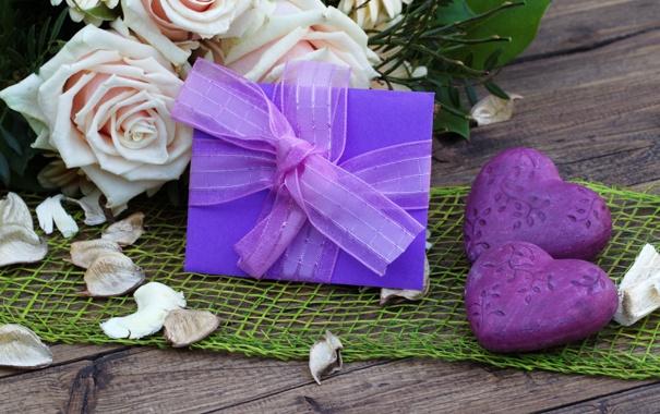 Фото обои цветы, розы, букет, лепестки, фиолетовые, сердечки, открытка