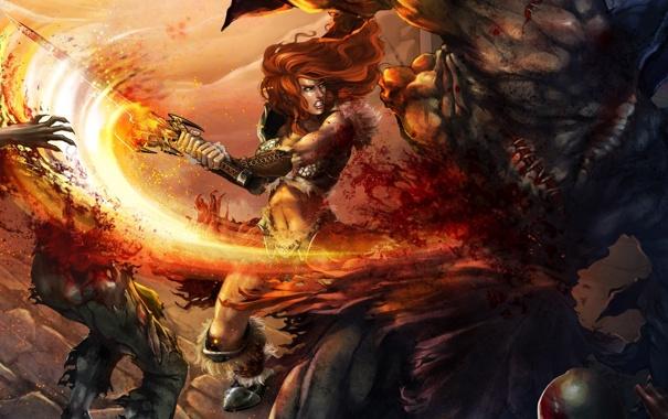 Фото обои огонь, варвар, рыжеволосая, меч, девушка, diablo 3, двуручный