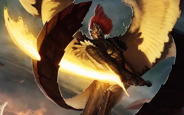 Фото обои огонь, крылья, ангел, меч, арт, хвост, мужчина