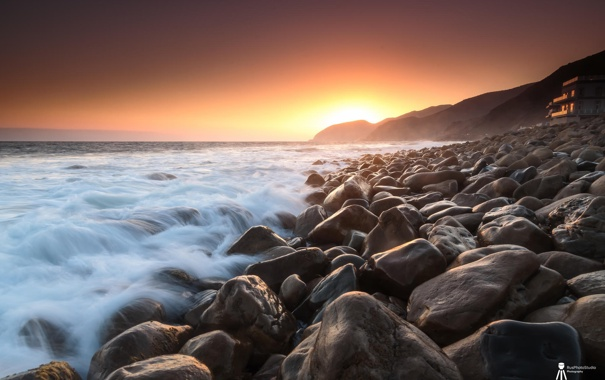 Фото обои море, закат, природа, камни, побережье