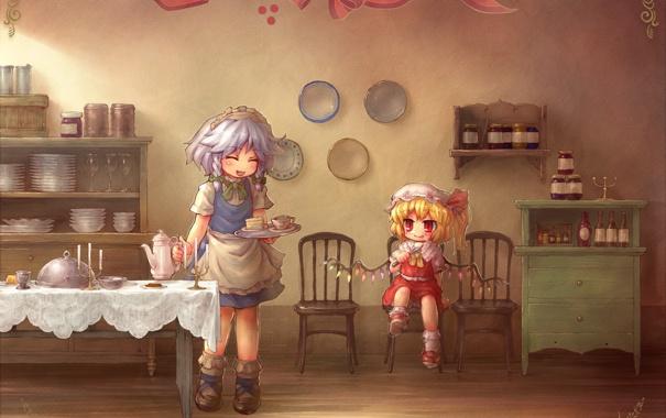 Фото обои настроение, аниме, кухня, девочка, тортик