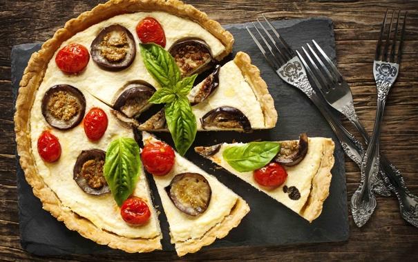 Фото обои баклажаны, пицца, помидоры
