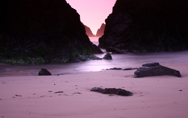 Фото обои камни, скалы, камень, вечер, скала, песок, побережье