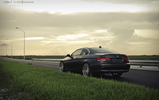 Фото обои трава, газон, чёрный, бмв, BMW, black, 335i