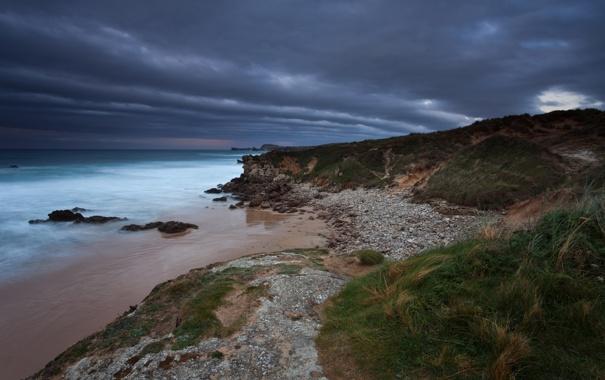 Фото обои море, небо, тучи, скалы, берег, вечер, Испания