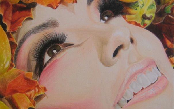 Фото обои осень, взгляд, листья, девушка, лицо, ресницы, улыбка