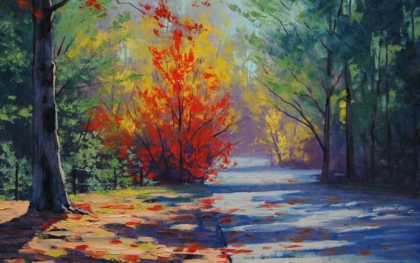 Фото обои рисунок, арт, artsaus, blue mountains autumn