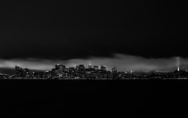 Фото обои город, здания, California, ночь, небоскребы, San Francisco