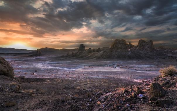 Фото обои закат, природа, скалы, пустыня