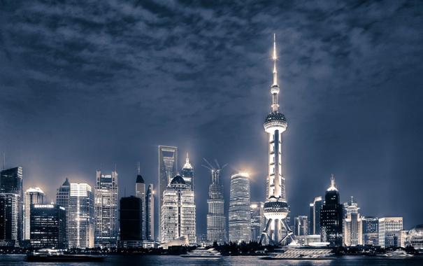 Фото обои река, China, здания, яхты, Китай, Shanghai, Шанхай