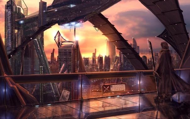 """Фото обои город, в капюшоне, высотки, мир будущего, """"The city of lights"""", автор Christian Hecker (ник Tigaer)"""