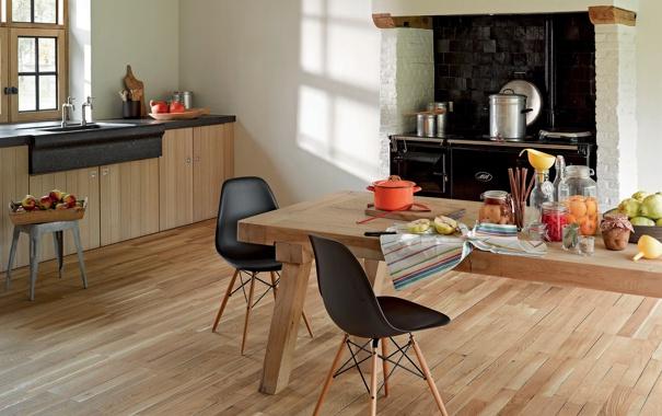 Фото обои интерьер, кухня, плита, банки, фрукты, шкафы, кастрюли