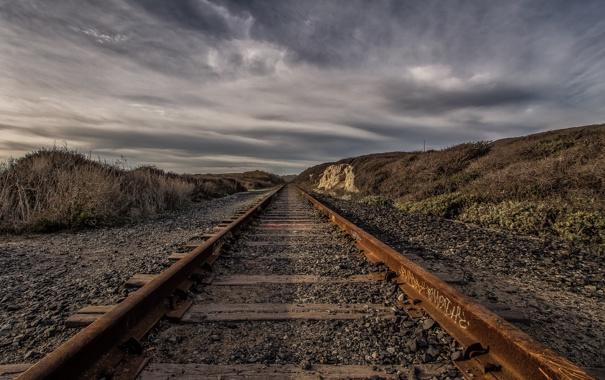 Фото обои железная дорога, пейзаж, небо